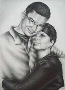 """Josh and Veronica,"" 10"" x 8"", Graphite and Colored Pencil on Watercolor Paper, SOLD"