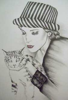 Drawing of Girl with Cat