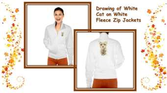 Love this chic and warm fleece for chilly weather! http://www.zazzle.com/drawing_of_white_cat_on_white_fleece_zip_jacket-235582284861399514