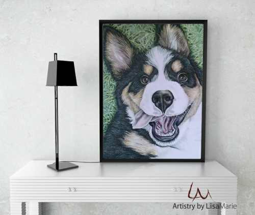 drawing of dog on table
