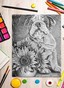 http://artistrybylisamarie.com/product/printable-coloring-page-bulldog-with-sunflowers/
