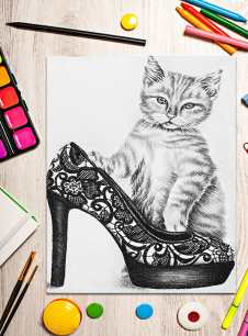 http://artistrybylisamarie.com/product/printable-coloring-page-cat-with-shoe/