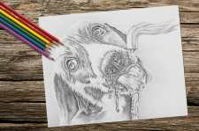 dogdrinking_8x10_coloring_onwood