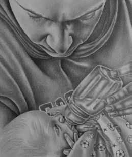 """""""Baby with Bottle"""" Graphite Pencil on Paper, 8""""x10"""", SOLD"""