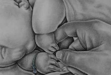 """""""Baby Hands"""" Graphite Pencil on Paper, 5""""x7"""", SOLD"""