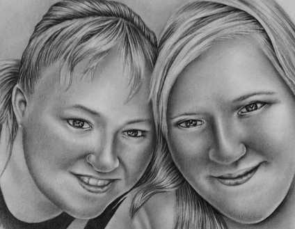 """Two Women Posing, 8""""x10"""", Graphite Pencil on Paper, SOLD"""