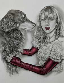 Hand painted dog portrait - Dog and Girl