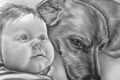 custom portrait of baby and dog