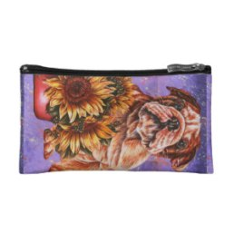 Bulldog and Sunflowers on Cosmetic Bag http://www.zazzle.com/drawing_of_bulldog_sunflowers_with_purple_paint_bag-223011117322376618
