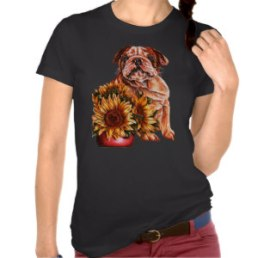 Bulldog and Sunflowers on Shirt http://www.zazzle.com/drawing_of_bulldog_with_sunflowers_tee_shirt-235568463535334644