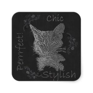 Chalk Drawing of Sleepy Cat on Sticker http://www.zazzle.com/drawing_of_sleepy_cat_in_chalk_square_sticker-217435920963389645
