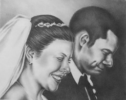 """""""Smiling Bride and Groom"""" 11""""x14"""", Graphite Pencil on Paper, SOLD"""