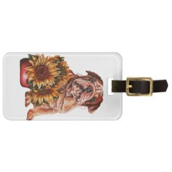 http://www.zazzle.com/drawing_of_bulldog_with_sunflowers_travel_bag_tags-256762200443821893