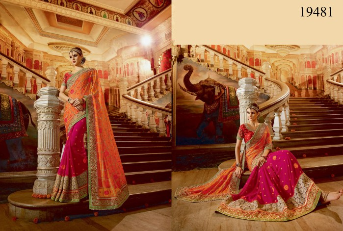 Orange & Pink Georgette Rukmini v4 Designer Saree 19481