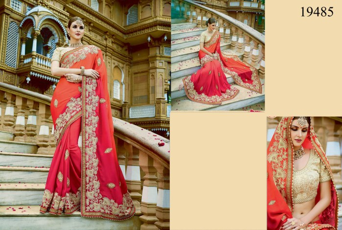Red & Orange Georgette Rukmini v4 Designer Saree 19485