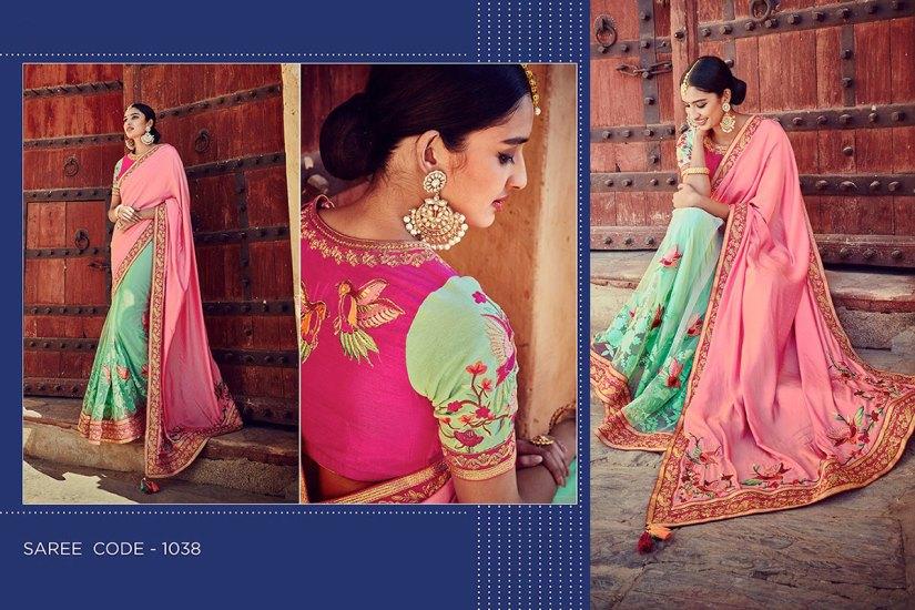 Kimora Sunehri Heavy Embroidery Sarees KS1038