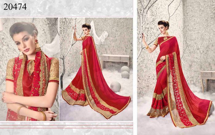 Red Georgette And Net Big Border Saree Shehzadi 20474