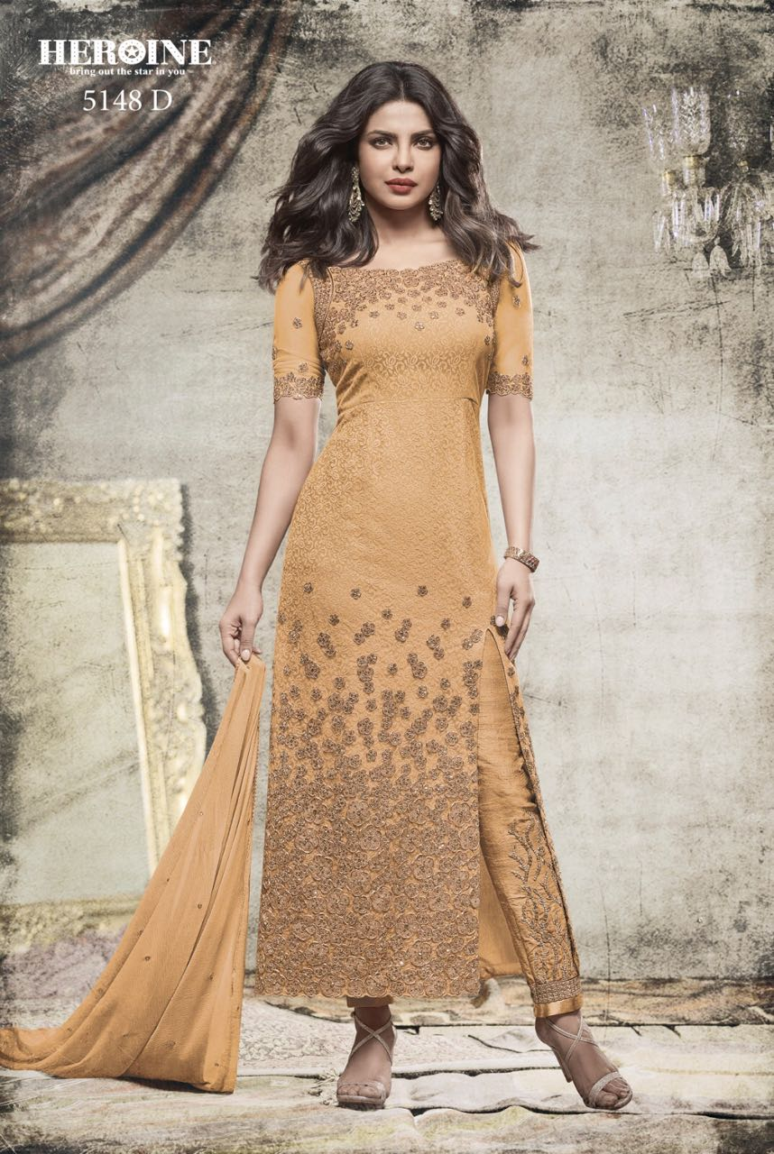 Priyanka Chopra in Stylish Long Churidar Heroine Diva 5148 Yellowish
