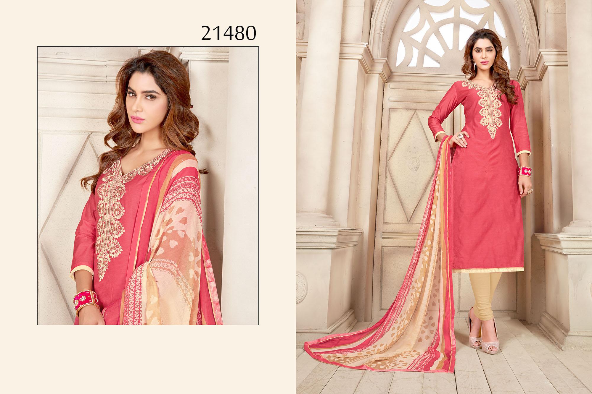 Peach Chanderi Cotton Dress Material Cynthia 21480