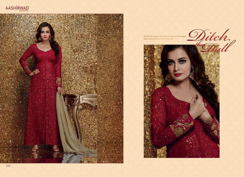 Diya Mirza Floor Length Salwar Suits 5001 C
