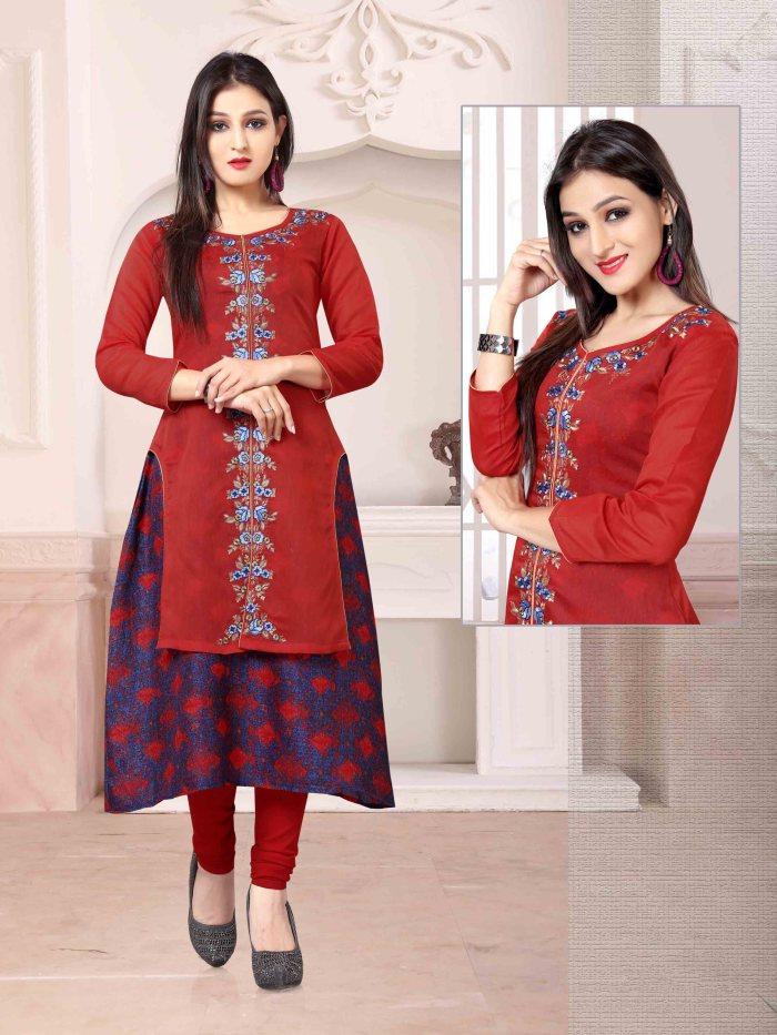 Chanderi Chex & Rayon Kurti Nexa CB061 | Readymade Wear