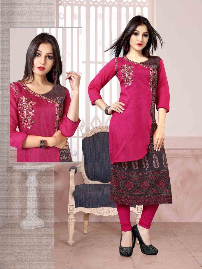 Chanderi Chex & Rayon Kurti Nexa CB065 | Readymade Wear