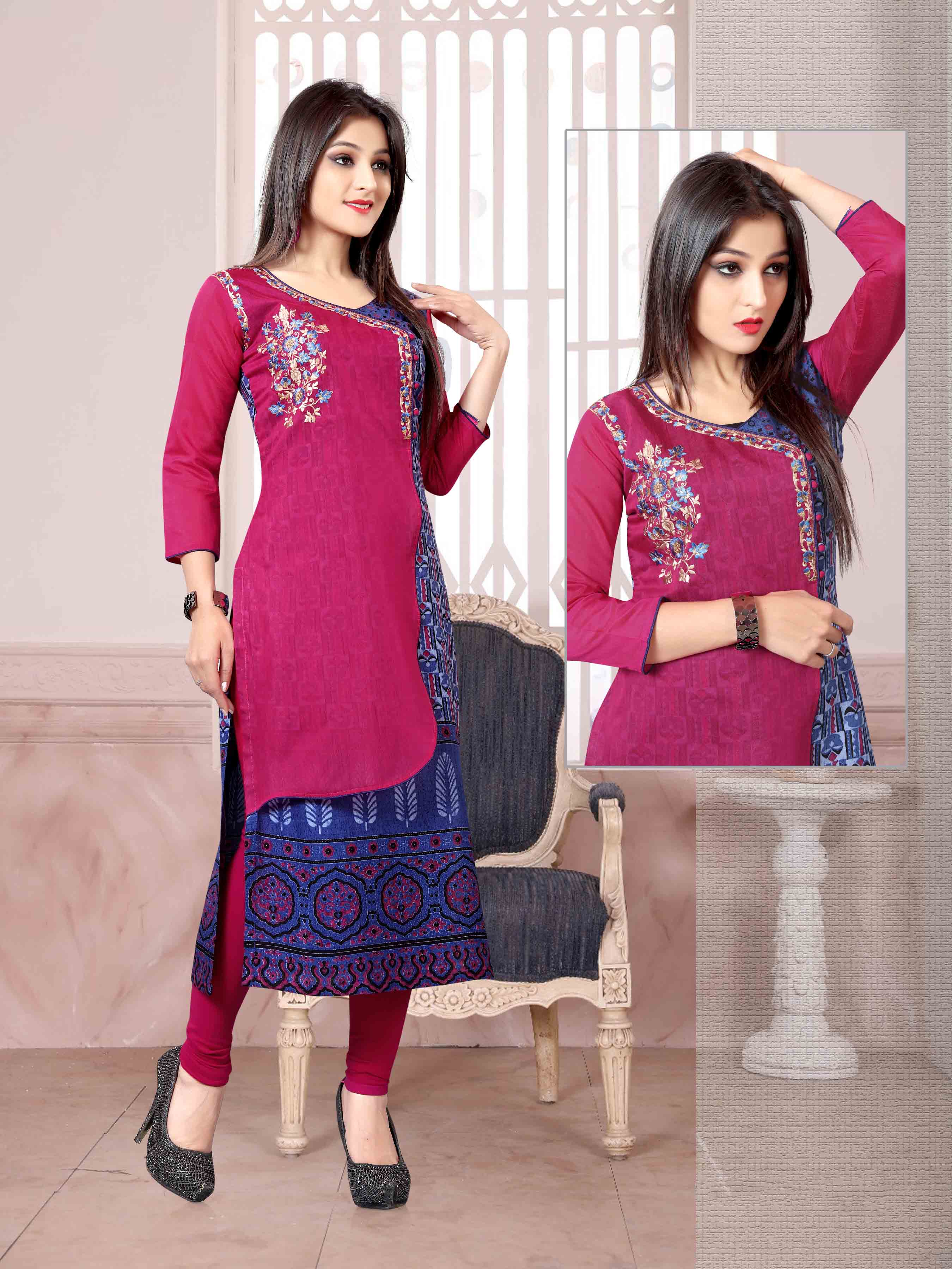 Chanderi Chex & Rayon Kurti Nexa CB066 | Readymade Wear