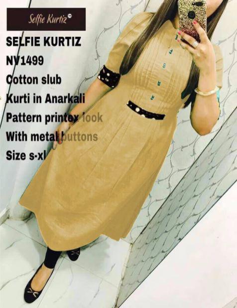 Cotton Slub AnarkaliSelfie Kurti for Women