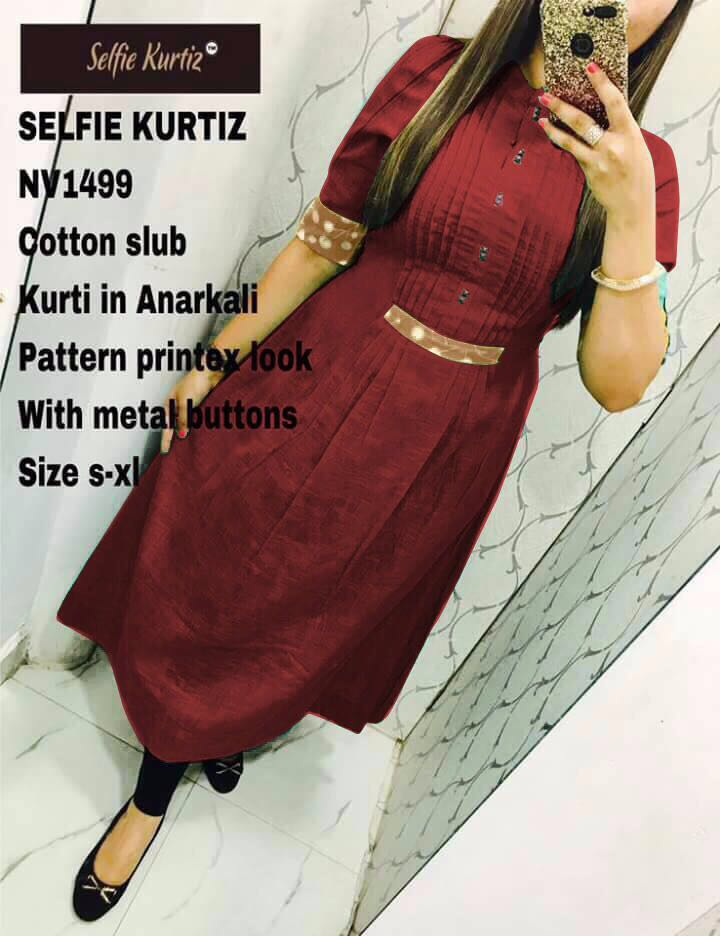 Shop Designer Cotton Slub Anarkali Selfie Kurti for Women