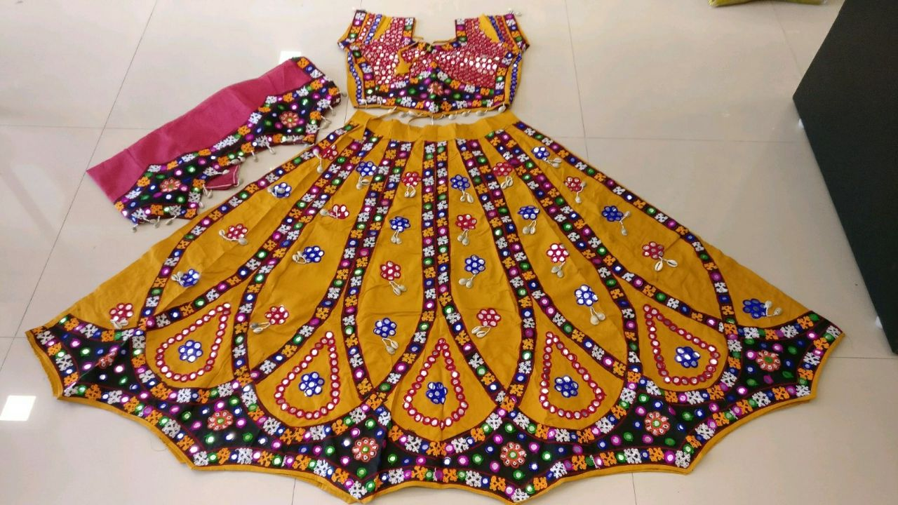 Kutchi Traditional Gamthi work Chaniya Choli Style F