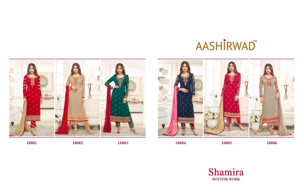 Shop Aashirwad Shamira Faux Georgette Suits Online