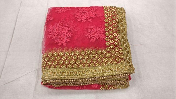 Designer heavy thread embroidery work party wear saree On heavy pearl work border