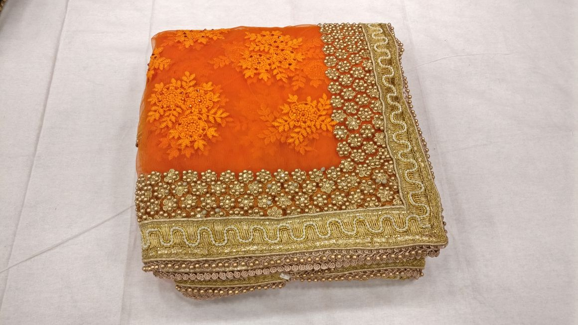 Designer heavy thread embroidery work party wear saree On heavy pearl work border