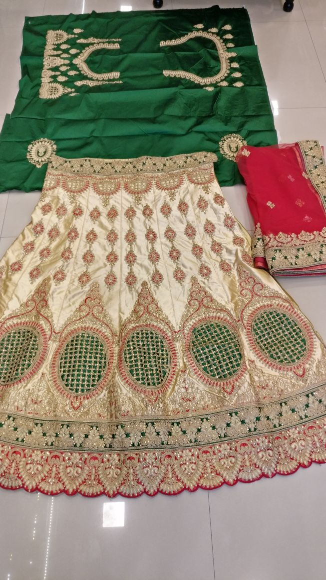 Heavy Kasab thread embroidery work bridal Chaniya Choli E