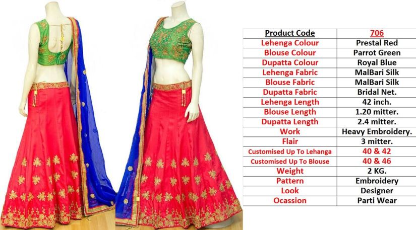 Prestal Red Lehenga Blouse 706