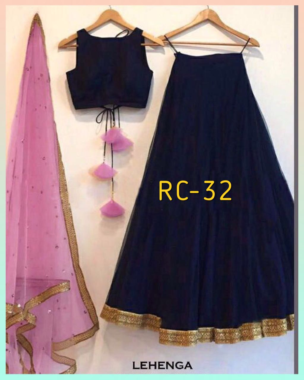 RC 32 Taffeta silk Lehenga Blouse with Pink Net Dupatta with Real Images