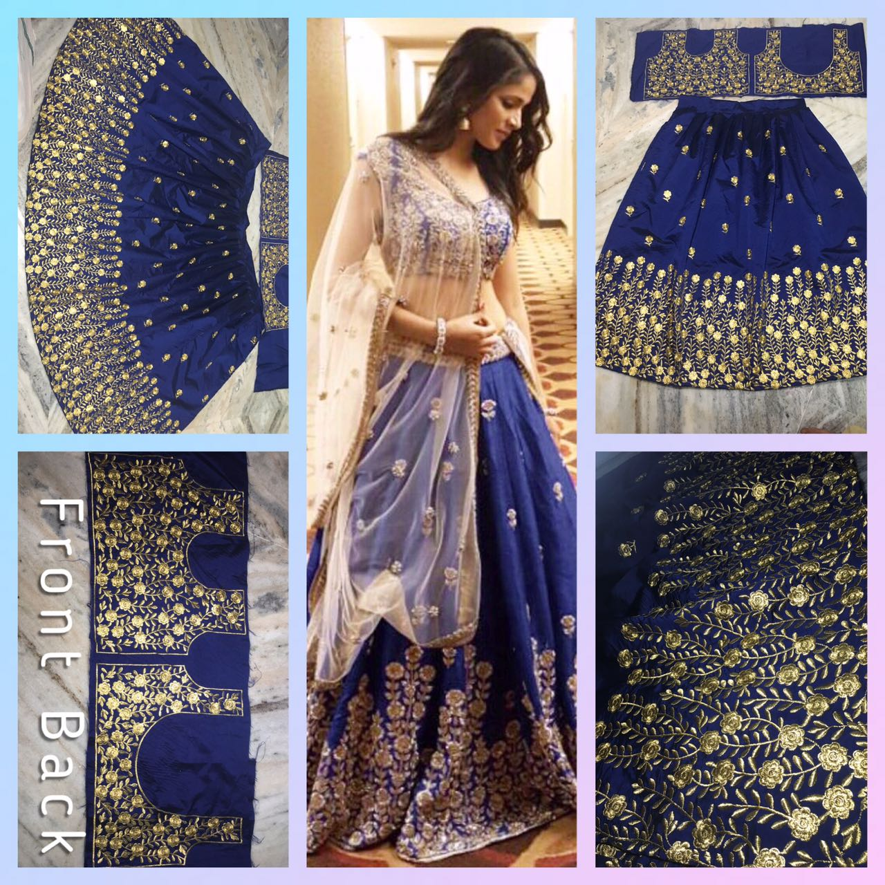 Royal Blue Taffeta silk lehenga blouse set