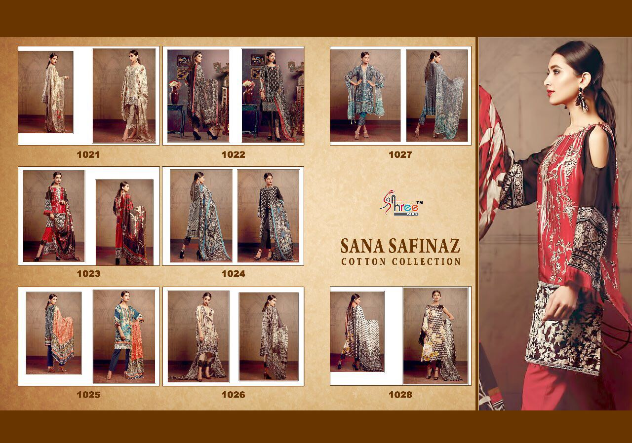 Shree Fabs Sana Safinaz Cotton Dress Material Collection