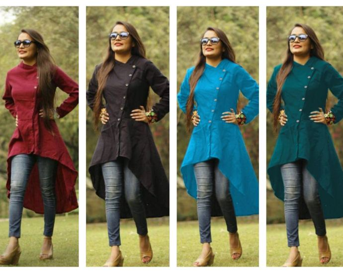 Tail cut Cotton Slub Half kurti Collection
