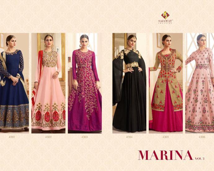Shop Sajawat Creation Marina Vol 3 Floor Length Anarkali Suits Online