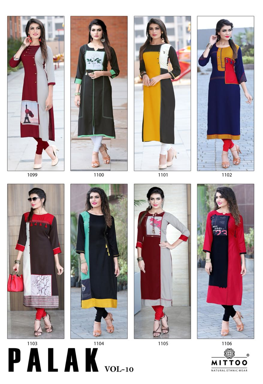 Mittoo Designer Long Kurtis Palak vol 10