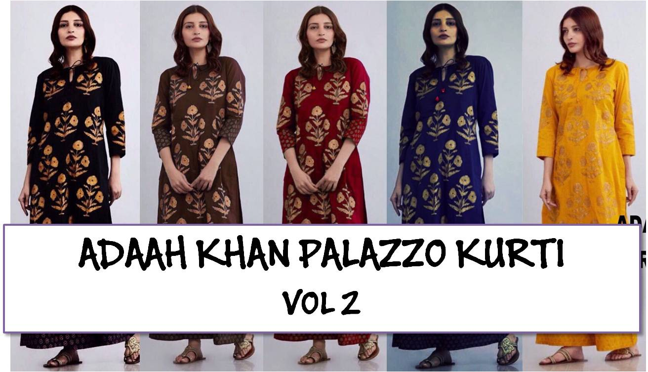 Designer Long Kurti with Palazzo Adaah Khan Vol 2