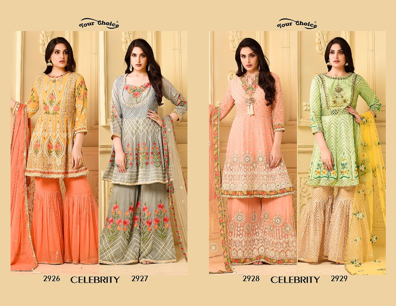 Your Choice Celebrity Style Sharara Suits