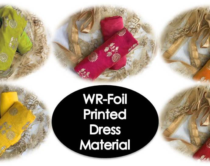 Foil Printed Chanderi Cotton Dress Materials
