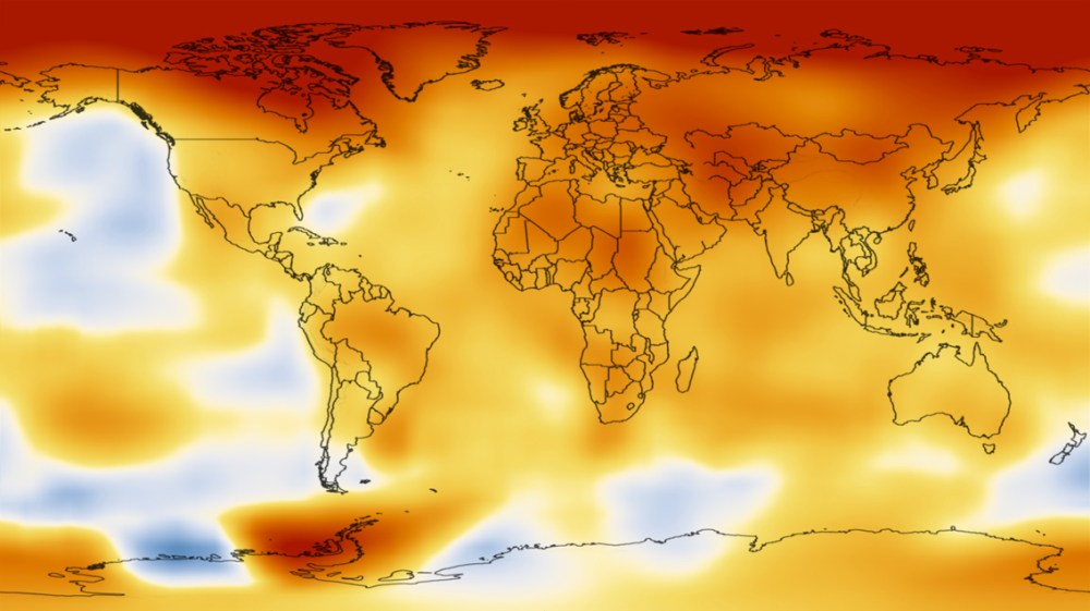 Earth temperature map