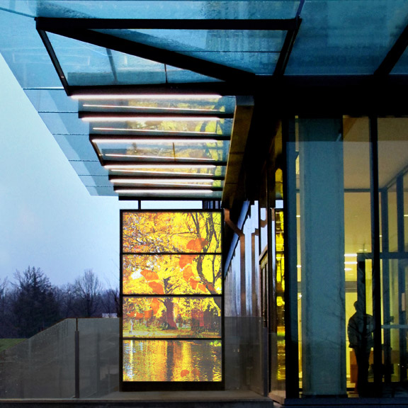 Sarah Hall, solar, PV, stained glass, York, Leaves of Light, gingko