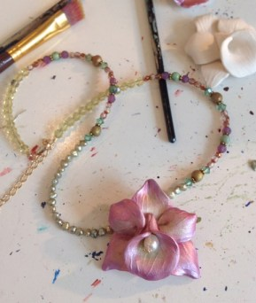 Painting an Orchid Necklace