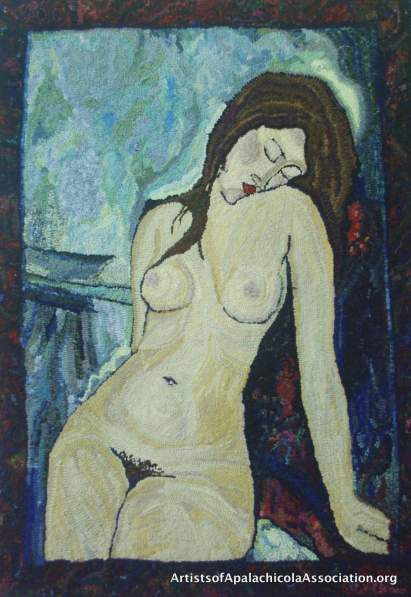 "Jilly Michaels - Modigliani's ""Sitting Nude"" hooked in wool"