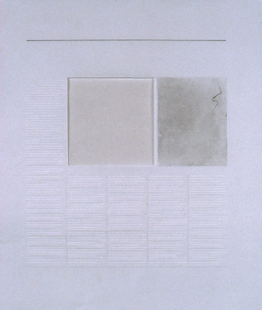 Karen L. Schiff, Agnes Martin, The London Daily Telegraph, 21 December 2004, opening, 2005, graphite, charcoal, and stylus on vellum, 17 x 14 inches (artwork © Karen L. Schiff)