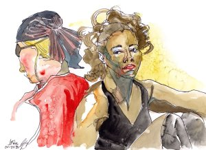 pirates figure drawing watercolour